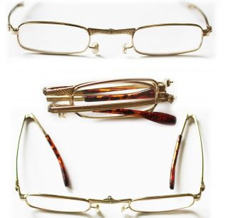 Folding Reading Glasses Delicate Feminine Gold Frames Fold Up Readers