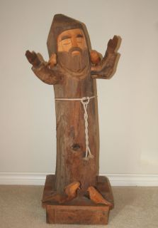 AWESOME 3 Ft ST FRANCIS OF ASSISI Carved Wooden Figure Statue by BEN