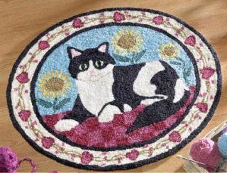 Country Cat Folk Art Round Accent Rug Floor Door Mat Home Decor