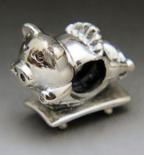 Silver Bead European Charm for Bracelet Flying Pig G130