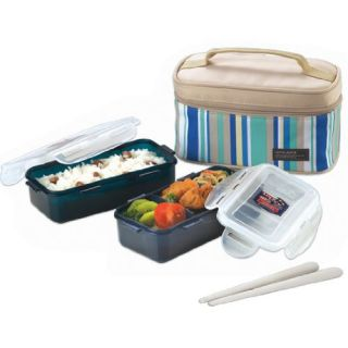 Blue Lunch Box Set with BPA Free Food Containers New