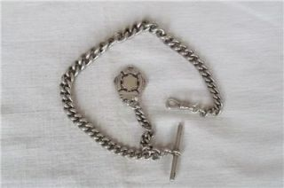 SOLID STERLING SILVER GRADUATED WATCH CHAIN WITH T BAR & FOB BIR 1915