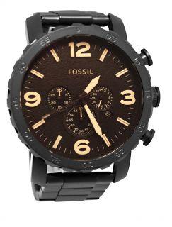 Fossil JR1356 Nate Chrono Amber Dial Matte Black Band Men Watch New