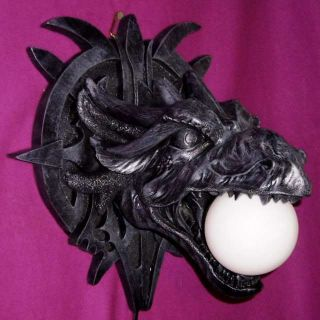 AWESOME GARGOYLE HEAD WALL LAMP NIGHT LIGHT GOTHIC DRAGON MEDIEVAL