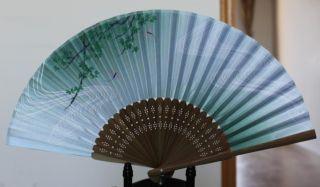 New Chinese Ladies Handmade Folding Silk Bamboo Folding Fan
