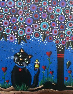 Folk Art Original Painting 11 x 14 Day of The Dead Cat Whimsical Lori