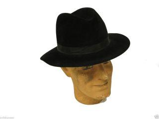 Fiorentino Black 100 Fur Felt Fedora Hat Size Large