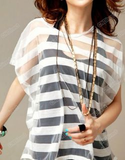 Hot Japan Korea stripes Lace Off Shoulder see through T Shirt Tank Top