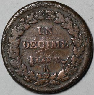 Revolution Coin France Decime Consulate Bordeaux Mint An 7 K