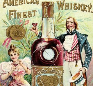 Harper Whiskey Uncle Sam Bottle Victorian Advertising Trade Card