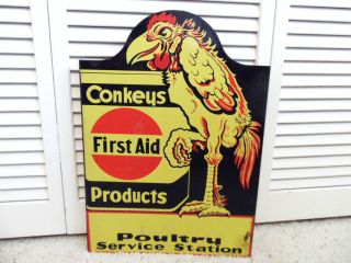 1940s Chicken Farm Sign Conkeys First Aid Sick Birds Poultry Feed