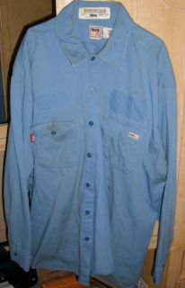 Flame Resistant Reed Lite Blue Navy Blue Work Shirts Size 2XL Repaired