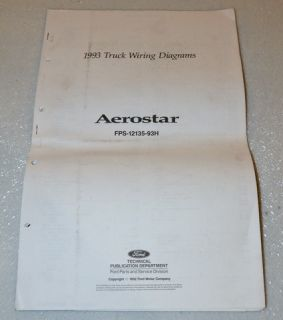 1993 Ford Aerostar Electrical Wiring Diagrams Manual Mini Van XL XLT