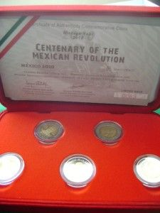 2010 Mexico $5 5 Coins Revolution Bimetallic Proof COA