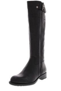 Franco Sarto NEW Panko Black Leather Snap Zipper Knee High Boots Shoes