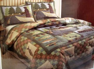 Cabelas Timber Trails Fly Fishing Creek Trout Full Queen Quilt Cabin