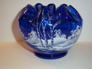 Fenton Glass White Birch Tree Winter Scene Cobalt Blue Rose Bowl Frank