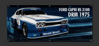 Ford Capri RS 3100 DRM 1975 Vinyl Poster Vintage Garage Slot cars Flag