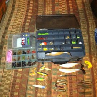 Lot Of Freshwater And Saltwater Fishing Supplies And Tackle Boxes