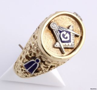 Lodge Masons Band   14k Yellow White Gold Masonic Ring Textured 13g