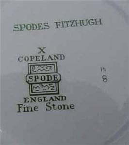Spode Fitzhugh England Fine Stone Green Cup Saucer Copeland Excellent