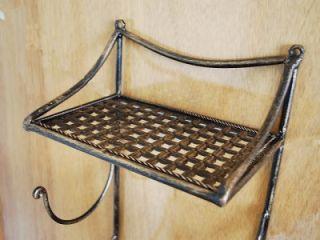 Wrought Iron French Style Bathroom Shelf Towel Holder