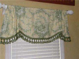 Rooster Hen Toile French Country Farm Valance Curtain Tassel Trim