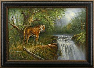 Tiger Forest Jungle River Waterfall Big Cat Animal Art FRAMED OIL