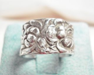 STERLING SILVER REPOUSSE FLORAL WIDE ETERNITY RING Signed T FOREE