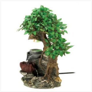 Lovely Bonsai Forest Tree Home Decor Tabletop Electric Waterfall
