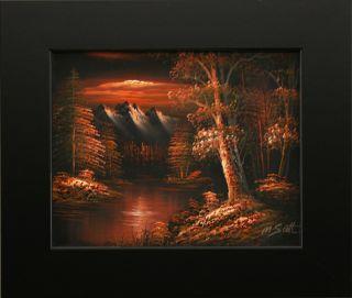 Sunset Dark Red Sky Forest River Mountain Landscape Art Framed Oil