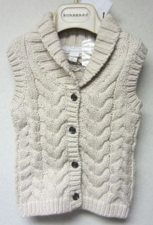 Burberry Infant Cable Knit Sweater Vest SZ9 MNTH NWT$95