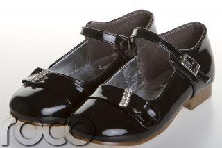 Girls Black Formal Strap Diamante Wedding Prom Shoes