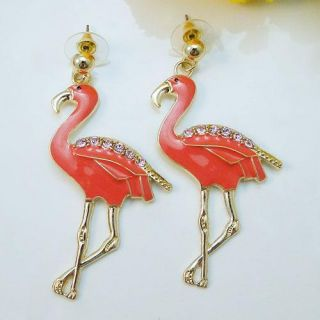 Flamingo Pierced Dangle Earring Pink Rhinestone Crystal