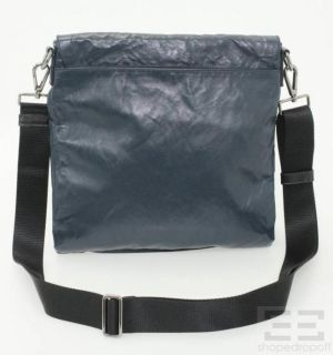 Prada Navy Crinkled Leather Messenger Flap Bag