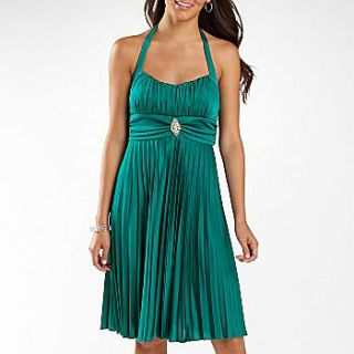 Semi Formal Sparkling Teal Pleated Halter Dress Prom Bridesmaid Party