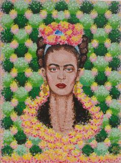 Original Frida Kahlo Inspired Acrylic Painting Blue Ribbon Pink Yellow