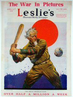 Leslies Cover Art by Clyde Forsythe Uncle Sam Playing Baseball