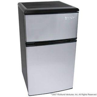 New 3 2 CU ft Portable Fridge Freezer Stainless Steel EdgeStar Dorm or