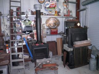 FRANKLIN WOOD STOVE CAST IRON HEATER CHIMNEY FIRE 26 INCH LOGS