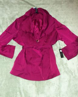 NWT WOMENS 2X CAROLE LITTLE RASPBERRY BELTED TRENCH COAT JACKET LINED