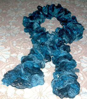 Hand Knit Boa Scarf Ruffled Red Heart Sashay (Jive) Turquoise Navy