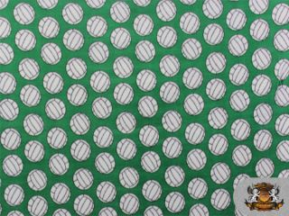 fleece printed volleyball green fabric by the yard