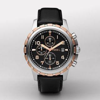 fs4545 black leather strap black analog dial chronograph watch watch