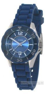 Fossil Uhr Damenuhr ES2934 Damen Uhren Silikon Blau Neu Edelstahl Mini