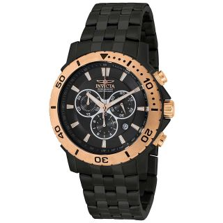 men s pro diver chronograph black ion plated stainless steel watch