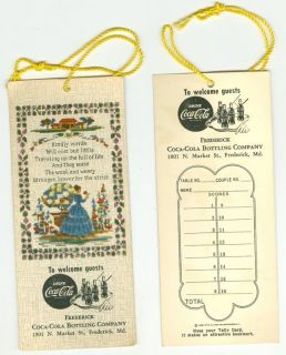 VINTAGE COCA COLA COKE FREDERICK MD BRIDGE CARD GAME SCORE CARD 8 DIF