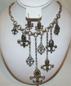 Fleur De Lis Charm Necklace & Earring Set Silver Tone Rhinestone