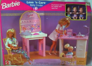 Vintage 1996 Love N Care Baby Center Barbie Doll Playset New