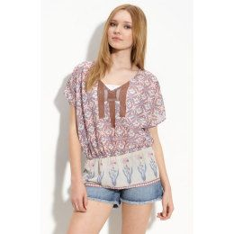 Free People Shirt Summers Tunic Blouse Printed Boho Top Caftan XS New